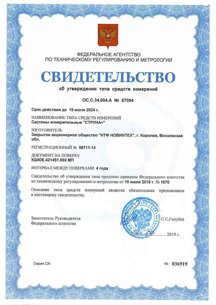 """Свидетельство об утверждении типа средств измерений """"СТРУНА+"""""""